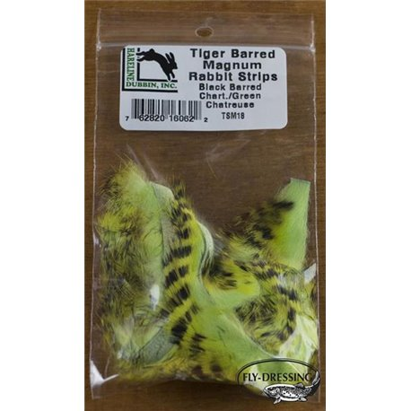 Tiger Barred Magnum Rabbit Strips - Black Barred Chartreuse/ Green chartreuse